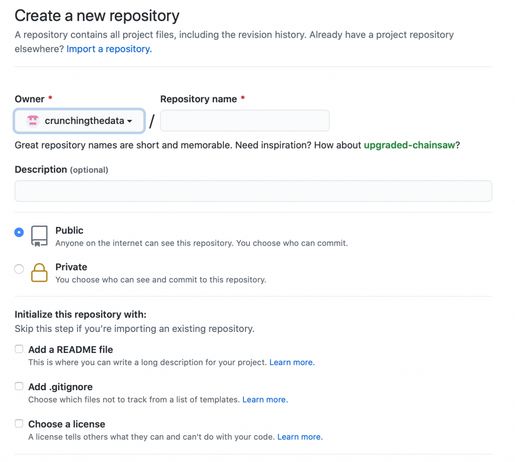 Options for creating a new repository on GitHub.