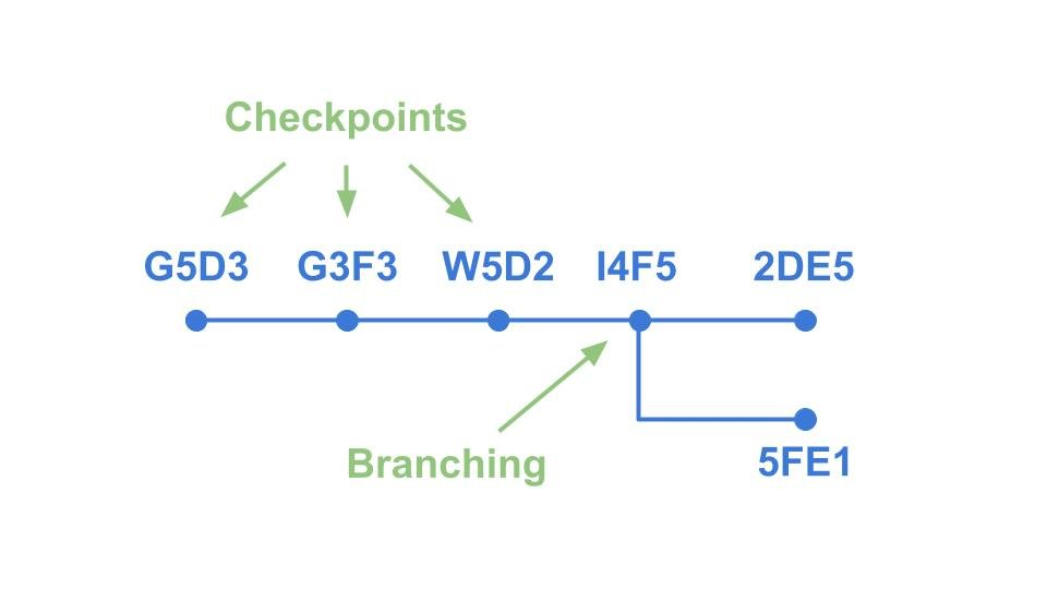A simple example of how branching and checkpointing works for version control.