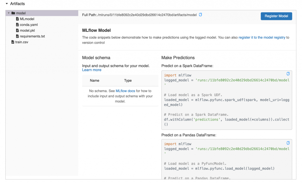 An example of a SciKit Learn MLflow model that has been logged to a MLflow run.