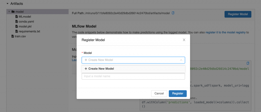 The screen you will see when you register an MLflow model. There is a box that asks if you want to create a new model and then a box that asks for the name of your new model.